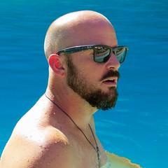 IMG_0315 (danimaniacs) Tags: shirtless man hot guy beard bald hunk swimmingpool stud scruff mansolo