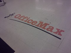 244 Gritty Office Max floor logo (l_dawg2000) Tags: retail vintage mississippi ms closing clearance 90s officesupplies officemax hornlake officesupplystore