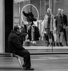 girl on a swing (Mike Flynn Adelaide) Tags: street blackandwhite bw streetphotography adelaide rundlemall adelaidestreetphotography