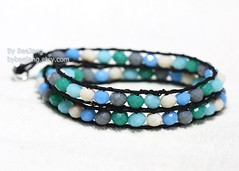 Ocean Mix Wrap Bracelet (BeeJang - Piratchada) Tags: ocean blue green wrapping cord grey mix crystal handmade cream wrap jewelry bracelet opaque beading beadwork