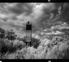 Old Lighthouse (tsiklonaut) Tags: old travel sea bw lighthouse white black 120 film blanco analog dark ir island estonia y pentax kodak drum scanner negro landmark baltic scan dreaming maritime experience worn infrared roll medium format dreamy analogue 6x7 beacon navigation 67 analogica saar eesti discover estonian xtol efke drumscan analoog muhu pmt infrapuna tuletorn majakas ir820 photomultipliertube nmmkla leemetikare
