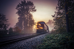 Coming Thru! (Explored) (VanveenJF) Tags: trees canada fog speed train river lights moving movement nikon bc tracks machine tokina foliage explore area rails fraser explored d7100
