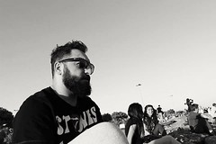 Derin dncelere daldm. (cambazghettostar34) Tags: blue boy people blackandwhite sun hot men beach nature glass girl canon hair beard blackwhite beards istanbul hiphop rollingstones rayban tshort sahil sakal avclar