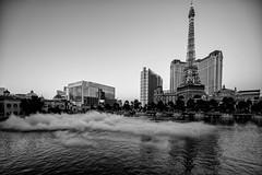 Bellagio Fountains, Las Vegas (judyhorton) Tags: mist lake nature water fog landscape lasvegas eiffeltower strip fountains bellagiofountains
