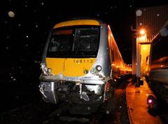 168113 (R~P~M) Tags: uk greatbritain england night train unitedkingdom crash buckinghamshire railway damage depot wreck aylesbury bucks 168 collision turbostar dmu chilternrailways dbarriva