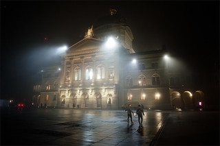 Season Greetings from Switzerland. Federal Palace of Switzerland, Bern   in the Fog. No, 5261.