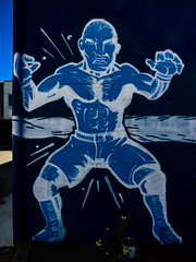 "Bring ""Em On (Steve Taylor (Photography)) Tags: art graffiti mural streetart blue white scary frightening man newzealand nz southisland canterbury christchurch flower academy academyofcombat combat fighting gym jiujitsui mixedmartialarts thaiboxing"