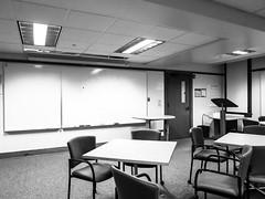 evening class (jojoannabanana) Tags: 3652017 blackandwhite canonpowershot chairs empty monochrome s100 university tables