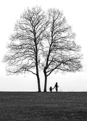 Mother and Daughter (crabsandbeer (Kevin Moore)) Tags: winter cecilcounty chesapeakecity hike maryland smalltown turkeypoint tree nature bw blackandwhite monochrome family motheranddaughter mother daughter life growth closeness symbolism people candid lighthouse landscape