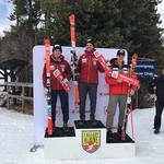 U19 Canadian Championships Nakiska (day 1) DH podium - 1st Max Kirshenblatt (BCST/WMSC); 2nd Kyle Alexander (BCST/WMSC); 3rd Reece Howden (Apex Ski Club)