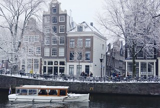 Fairboat along the wintry canals of Amsterdam