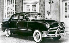 Nellie when new (blue65pv544) Tags: 1949 1950 1951 ford shoebox black factory vintage photo bw flathead four door
