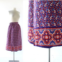 1970s Paisley Bramble cotton wrap skirt (Small Earth Vintage) Tags: smallearthvintage vintagefashion vintageclothing skirt 1970s 70s wrapskirt cotton paisleyprint purple red jamescox