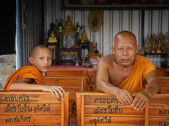 A young but earnest monk and his mentor (Bn) Tags: life old school portrait people man senior face thailand religious pain amazing search movement god nirvana expression bangkok buddha buddhist religion crying deep monk buddhism teacher thoughts junior end donation population sensuality wat enlightenment 95 suffering powerful topf100 wrinkles learn mentor ending siddhartha serve extremes craving teachings relinquish thailands theravada thung 100faves officiants khru