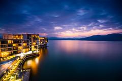 Resort Hotel On Lake Taiping (Picocoon) Tags: china blue sunset sky cloud lake architecture sunrise landscape dawn hotel twilight dusk hour taiping anhui lobstercity
