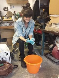 Claire with blue alginate hands