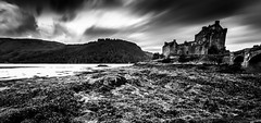 Eilean Donan Castle Mono - Scottish Highlands (capturedcanvas.co.uk) Tags: ca chris sky blackandwhite mountain black mountains seaweed castle art monochrome clouds digital canon mono scotland moody cloudy captured scenic dramatic smith canvas filter lee usm filters eilean donan 1740mm sillhouette 1740 manfrotto 1740l leefilter bigstopper