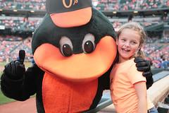 Bird And Girl (peterkelly) Tags: orange usa bird girl digital yard us unitedstates baseball stadium unitedstatesofamerica maryland baltimore diamond mascot northamerica thumbsup camdenyards mlb baltimoreorioles baltimorepark