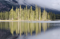 Lit-Up (rockymtnchick) Tags: autumn trees mountain lake snow canada cold reflection fall water fog landscape kananaskis morninglight nikon october scenery frost scenic alberta lightandshadow kananaskiscountry 2015 kcountry provincialparks d7000