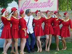 Glamcab Girls. Goodwood Revival 2015 (Lazenby43) Tags: girls cortina uniform glam carryon cabby goodwoodrevival2015