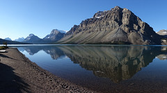 Calm morning at Bow Lake (*Andrea B) Tags: park summer mountain lake snow mountains rockies nationalpark hiking jimmy rocky august hike glacier mount national bow summit banff rockymountains tarn simpson scramble caldron banffnationalpark scrambling bowlake wapta 2015 bowvalley jimmysimpson caldronlake mountjimmysimpson summer2015 august2015
