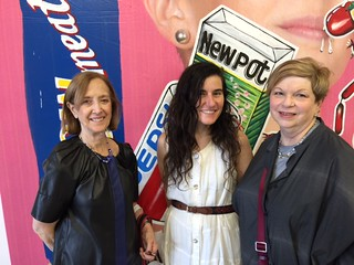 Debi Hoffman with artist Naomi Fisher and Abby Chase at the Bas Fisher invitational space