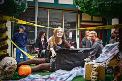 3Q0A9212e (agentsmj) Tags: street autumn people woman cute fall halloween stockings weather kids skulls fun outdoors costume blood funny legs pennsylvania vampire zombie teeth crowd overcast parade tape caution fangs coffin bentleyville