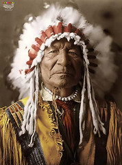 Sitting Bear 1908 (Billy-Fish) Tags: bear man color colour art history sitting native indian chief photographic american warrior restoration medicine colourisation billyfish