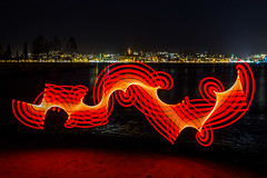 Pixelstick dance [Explore] (LivingStone Images) Tags: red lightpainting abstract night newcastle 2015 pixelstick