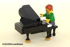 Victorian Dream Home on LEGO Ideas - Piano (buggyirk) Tags: building whimsical district creator house queen victorian modular buggyirk historic architecture historical home anne dream bassinet piano grand baby figure minifigure lego afol moc dark green red white orange fireplace bedroom living room dining dinette set wing chair tufted couch interior exterior garden turret tower gable finial stained glass window porch grandfather clock chandelier light brick built spiral staircase stairs pillar flower tree bush ideas crawl space vent arch tile family legodreamhome fantasy whimsy miniature