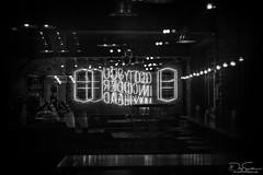 night in neon (Daz Smith) Tags: dazsmith fujixt10 fuji xt10 andwhite bath city streetphotography people candid canon portrait citylife thecity urban streets uk monochrome blancoynegro blackandwhite mono neon sign letters bar empty reflection