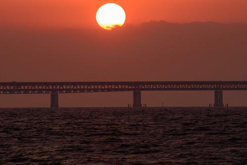 関空・夕景5・Sunset over Kanku Airport Bridge