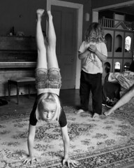 Lounge Gymnastics 24 copy (C & R Driver-Burgess) Tags: boys girl shaved forehead blonde curly hair young small headstand spider walkover monochrome playing kids children