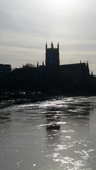 Severn view, Worcester, morning (Dave_A_2007) Tags: church reflection river silhouette water worcester worcestershire england