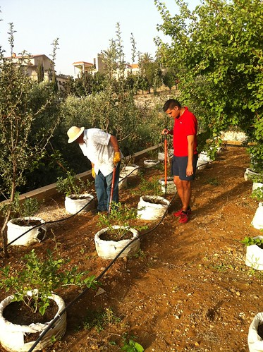 Tamim & Dad inspecting plants 2014