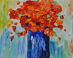 Variations on a Theme - Take 1 (BKHagar *Kim*) Tags: flowers blue floral painting paint acrylic canvas vase bouquet artday variationonatheme bkhagar