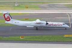 D-ABQQ - 2008 build Bombardier Dash 8-402, taxiing for departure at Dusseldorf (egcc) Tags: ab dusseldorf turboprop dhc dash8 bombardier ber airberlin lgw 4198 dus q400 eddl luftfahrtgesellschaftwalter dash8402 hbjga dabqq
