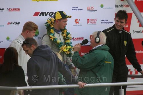 Race winner Michael Higgs interviewed after the Fiesta Junior Championship, Brands Hatch, 2015