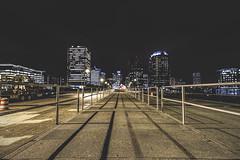 Night Walks (Joey Wharton) Tags: city bridge urban night buildings virginia cityscape richmond walkway va rva