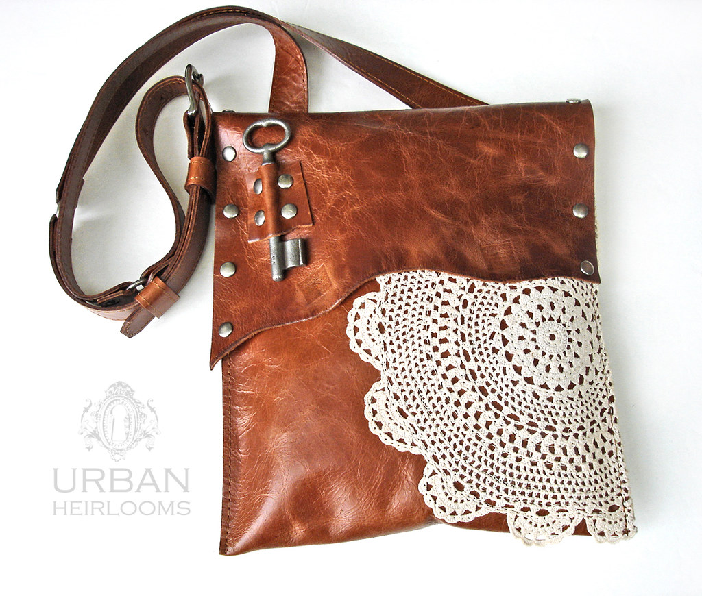 4caccc1f19 boho leather purse with crochet doily and key (UrbanHeirlooms) Tags  leather  fashion hardware