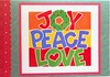 Joy, peace, love recycled Christmas card (tengds) Tags: blue red orange green love yellow peace recycled joy card christmascard papercraft handmadecard recycledcard tengds reusedcard