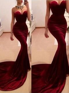 Sweetheart Mermaid Sweep Train Burgundy Velet Prom Dress