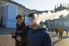 _R010111 (Dave Cavanagh Street) Tags: stockturinitalyricoh vape vaping smoke smoking torino street streetphotography ricohgr2 turin italy italians