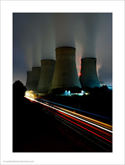 Power and Motion / Ratcliffe Power Station, Nottinghamshire, UK (Andrew James Howe) Tags: andrewhowe architecture buildings clouds dusk drama england engineering energy fineart industrial industriallandscape light landscape longexposure nikon powerstation power ratcliffeonsourpowerstation ratcliffepowerstation trains