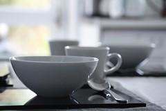 Breakfast Table (haberlea) Tags: home table breakfast white stilllife bowl cup kitchen spoon athome porridge