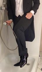 white-tie-shower-1_10300374253_o (shinydressshoes) Tags: tails tailcoat tuxedo suit muddy gunge wet shiny shoes shinyshoes leather patent dressshoes groom wedding whitetie frack formal shower lackschuhe lackschuh