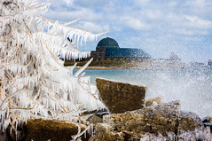 Chicago Ice Storm ((Jessica)) Tags: icestorm ice waves splash splashing motion water cold freezing winter frozen adlerplanetarium chicago northerlyislandpark illinois midwest season seasonal outdoors adventure