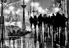 street life - double exposure (eggii) Tags: doubleexposure street people mono monochrome bw streetlife lights lamps dark shadows