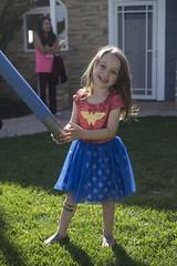 Luna Day 1230 (evaxebra) Tags: luna wonder woman wonderwoman super hero noodle grass dirty bandaids dress ww