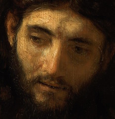 Rembrandt — Head of Christ, c. 1648-56. Painting: Oil on oak inserted into larger oak panel, 33.7 x 28.9 cm. Philadelphia Museum of Art, Philadelphia / © Philadelphia Museum of Art.  This sketch, one of Rembrandt's most subtle in the rendering o (ArtAppreciated) Tags: fineart painting blogs tumblr artblogs artappreciated artoftheday artofdarkness artofdarknessco artofdarknessblog rembrandt van rijn jesus face life christ jewish judaism history art netherlands dutch golden age date1648 date1653 detail details figurative faves beautiful controversy hi res desktop wallpaper